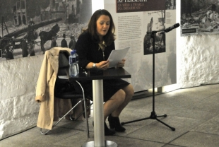 Ruth Scott reading from a piece of Polish literature